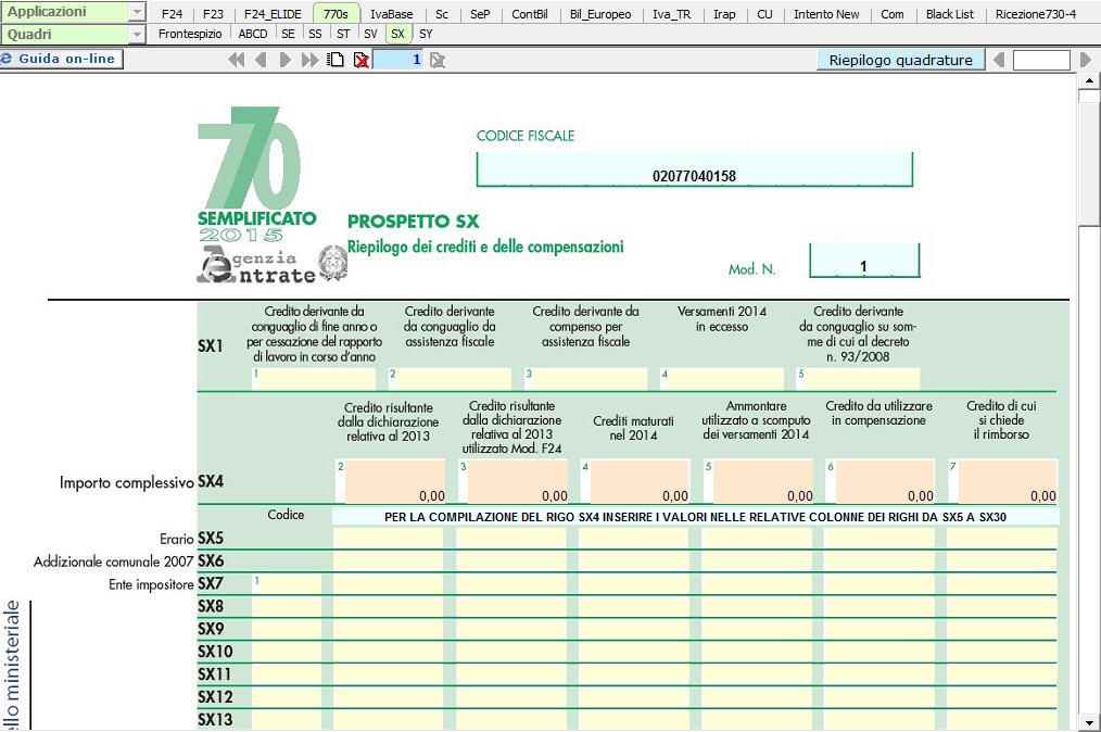 Modello 770 semplificato sx riepilogo dei crediti e for Dichiarazione 770