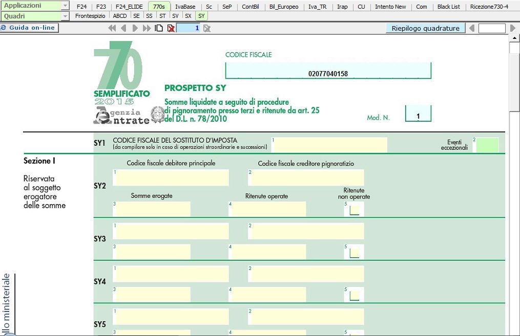 Modello 770 semplificato sy somme liquidate a seguito di for L espropriazione mobiliare presso terzi