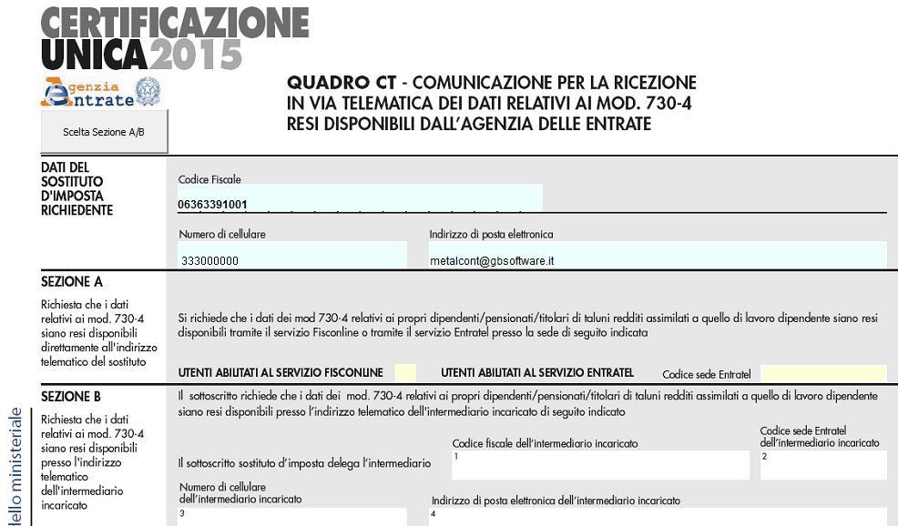Certificazione unica quadro ct comunicazione per la for 730 obbligatorio