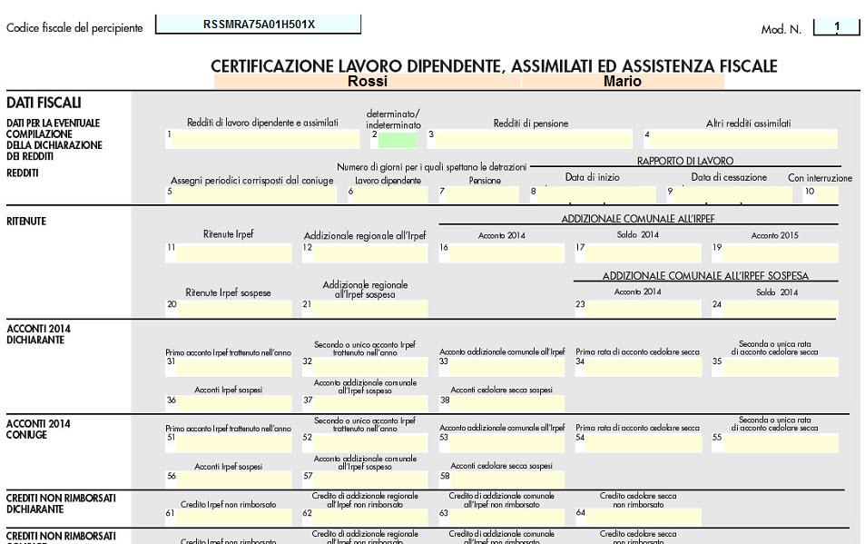 Certificazione unica quadro ld dati relativi alle certificazioni di lavoro autonomo - Certificazione lavoro autonomo provvigioni e redditi diversi nel 730 ...