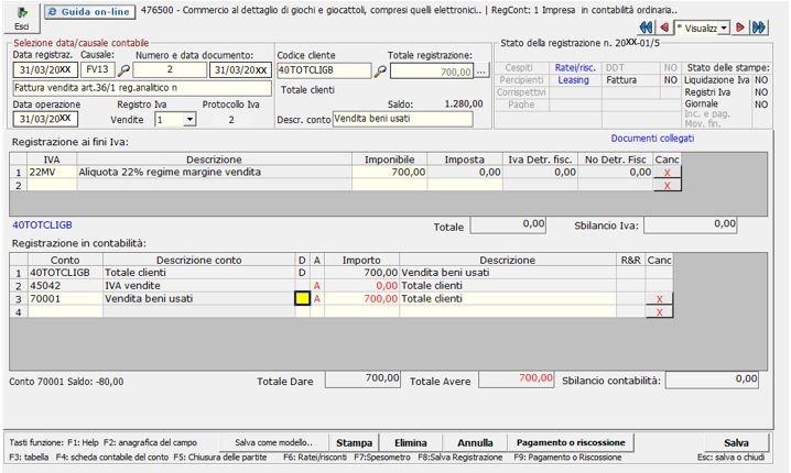 registrazione di nota credito su vendite