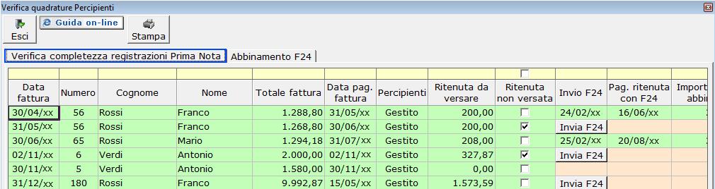 5 3 verifica quadrature for F24 elide prima registrazione