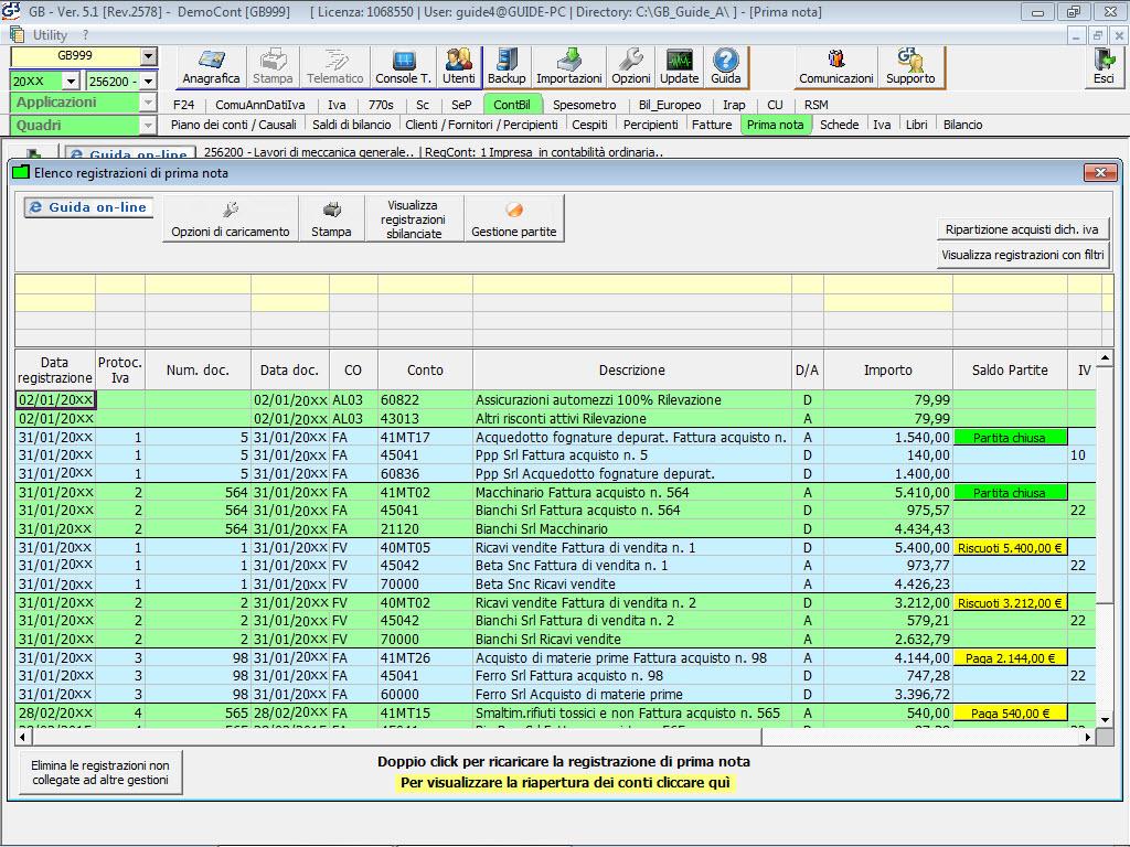 Prima nota elenco prima nota for F24 elide prima registrazione