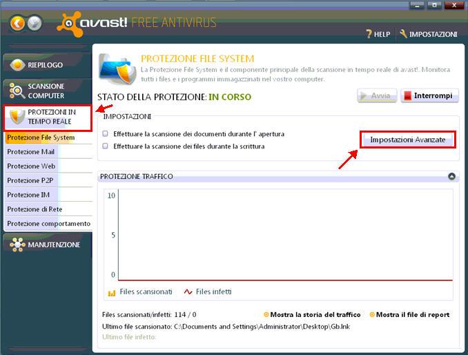 Per prima cosa, dopo aver aperto l'interfaccia Avast 6.0 andremo a